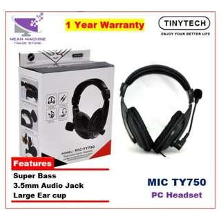 #Tinytech TY750 Stereo Gaming Headset Black With Microphone#
