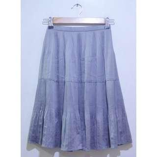Gray Midi Pleat Korean Skirt