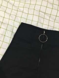 Korean brand black zip up skirt
