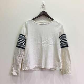 🚚 [ Uniqlo上衣 ] 白底手臂條紋上衣