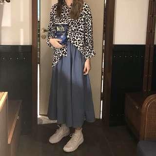 預購❗️333豹紋襯衫+莫蘭迪色長裙