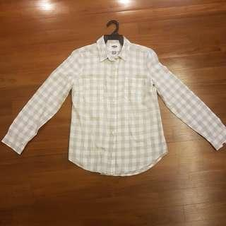 🚚 OLD NAVY WHITE CHECKED LONG SLEEVE SHIRT BLOUSE