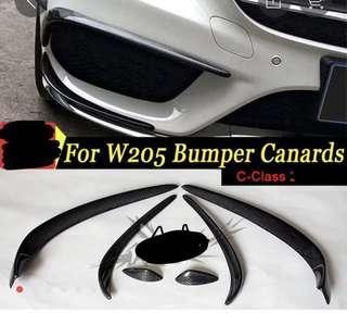 Mercedes W205 C Class Front Bumper Carbon Fiber Canard