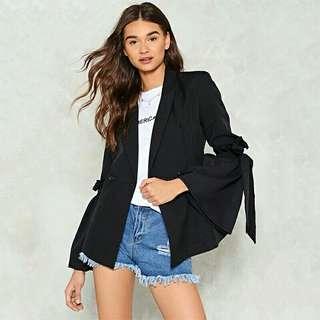 歐美時尚休閒渡假日韓系個性特色造型綁帶蝴蝶結喇叭袖宮廷西裝外套