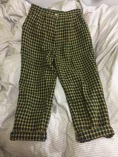 古著 vintage a prank dolly購入 黃綠毛料格紋褲