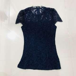 Doublewoot Navy Lace Top