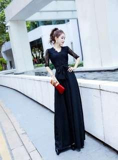 Black V Neck Lace Long Dress (Ready-Stock)