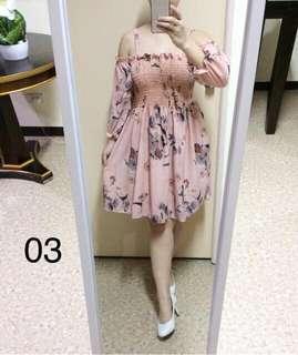 Off shoulder old rose dress