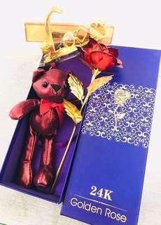 少量現貨/預訂🌹2019 法式浪漫 貴族紅酒熊 Bear Bear 花盒 1 朵紅金箔片立體座台玫瑰 求婚周年紀念 百日宴 新年賀年情人節 元宵節禮物 ROMANIC LOVE VALENTINES ANNIVERSARY WEDDING NEW YEAR GOLDEN ROSE & RED WINE BEAR BOX GIFT
