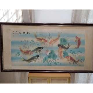 Vintage koi chinese painting in frame