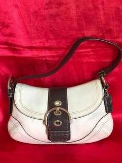 Repriced to clear!!! Authentic  Coach Off White and Brown Leather Mini Hobo Buckle Bag with Dust bag