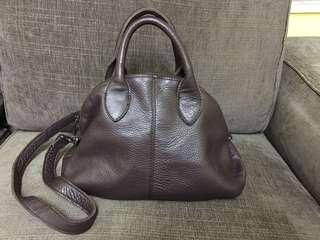 Leather brown bag啡色皮袋