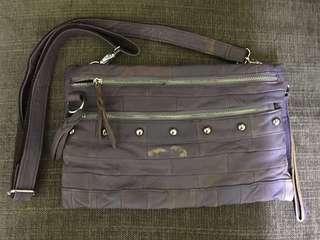 鈄肩紫色皮袋purple leather shoulder bag