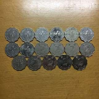香港錢幣 2元17個 女皇頭 回歸幣
