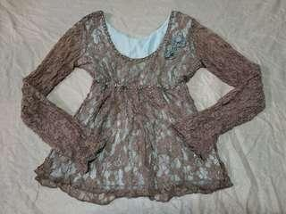 Brown lace beach top
