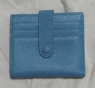 Blue genuine Soft Leather Bifold Wallet with Zipper