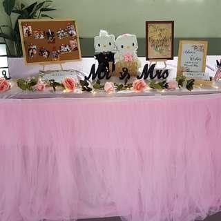 🚚 Pink Tulle Table cloth for rental