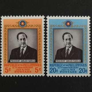 🚚 Philippines 1958. The 12th Anniversary of Republic complete stamp set