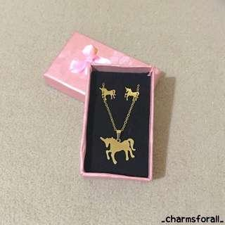 Unicorn Gold Stainless Necklace & Earrings
