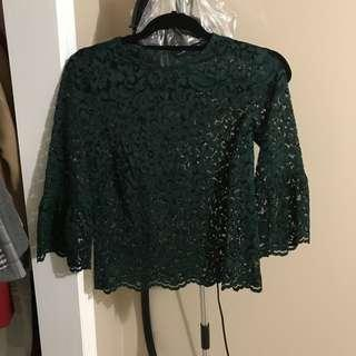 Green Zara top