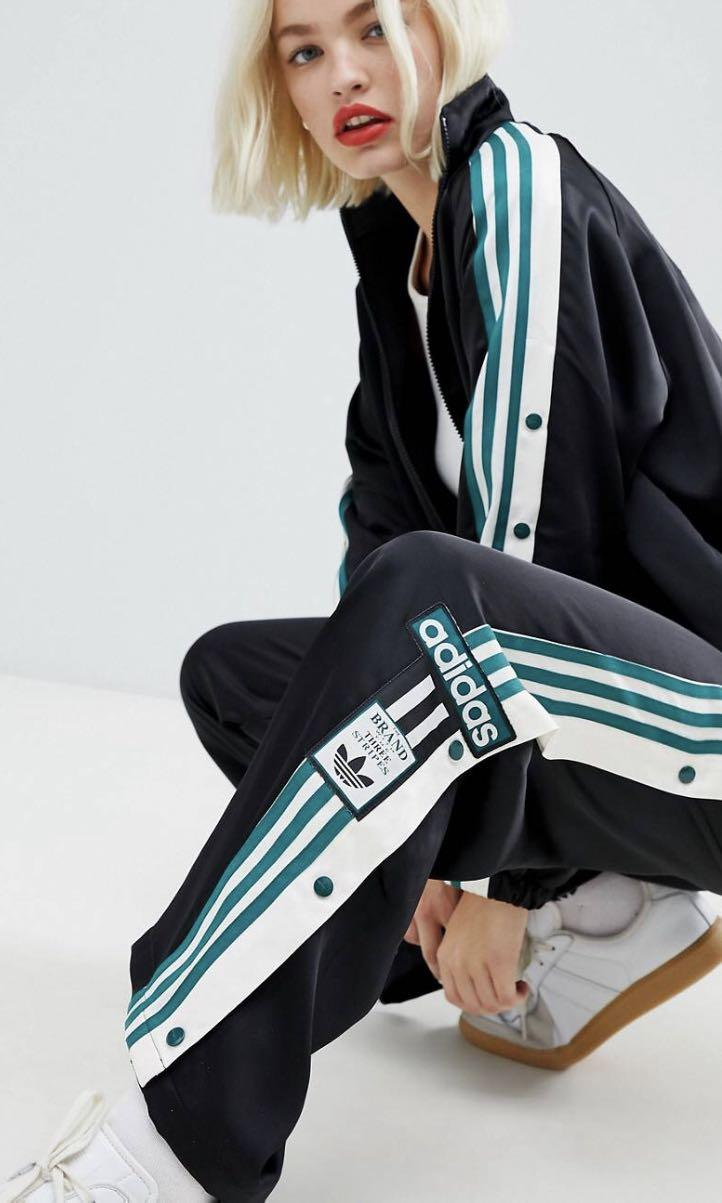 Adidas originals three stripe popper pant with vintage logo