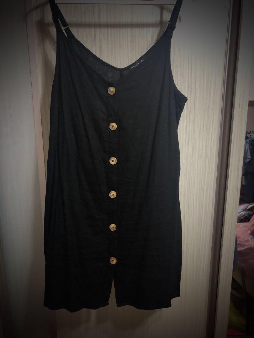 ae793a4e22d7 Almost New - Cotton On Black Linen Shift Dress, Women's Fashion ...
