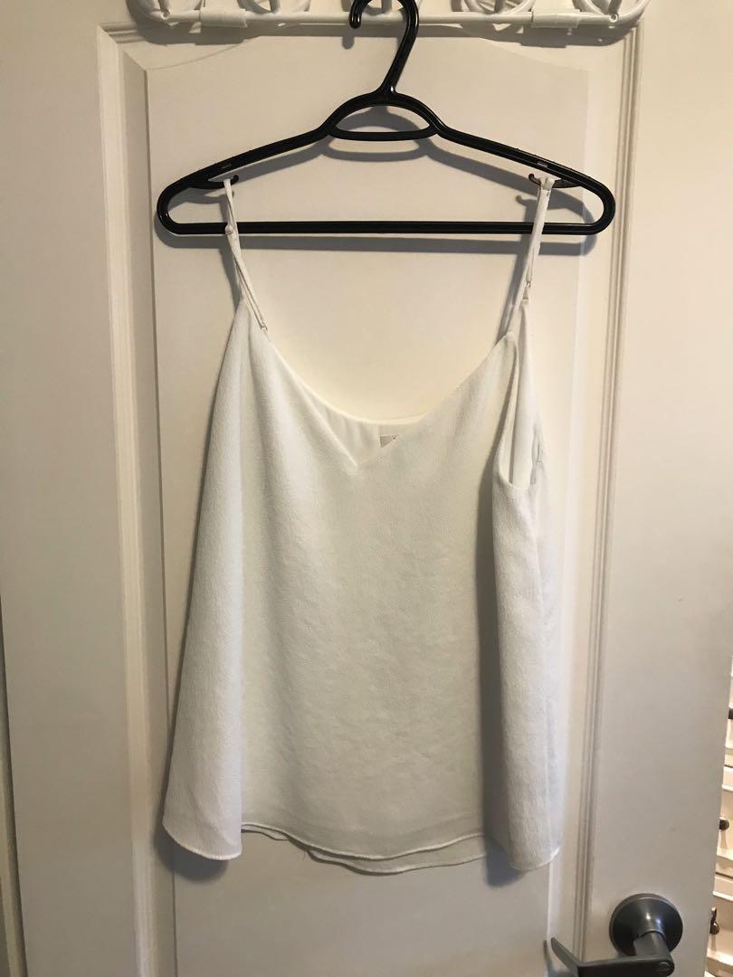 Aritzia White Silk Fancy Tank