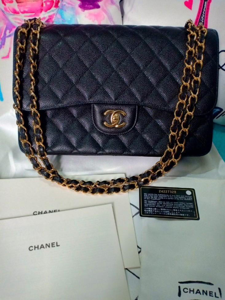 Authentic Chanel Jumbo Caviar flap bag series 24 98ac59f4f