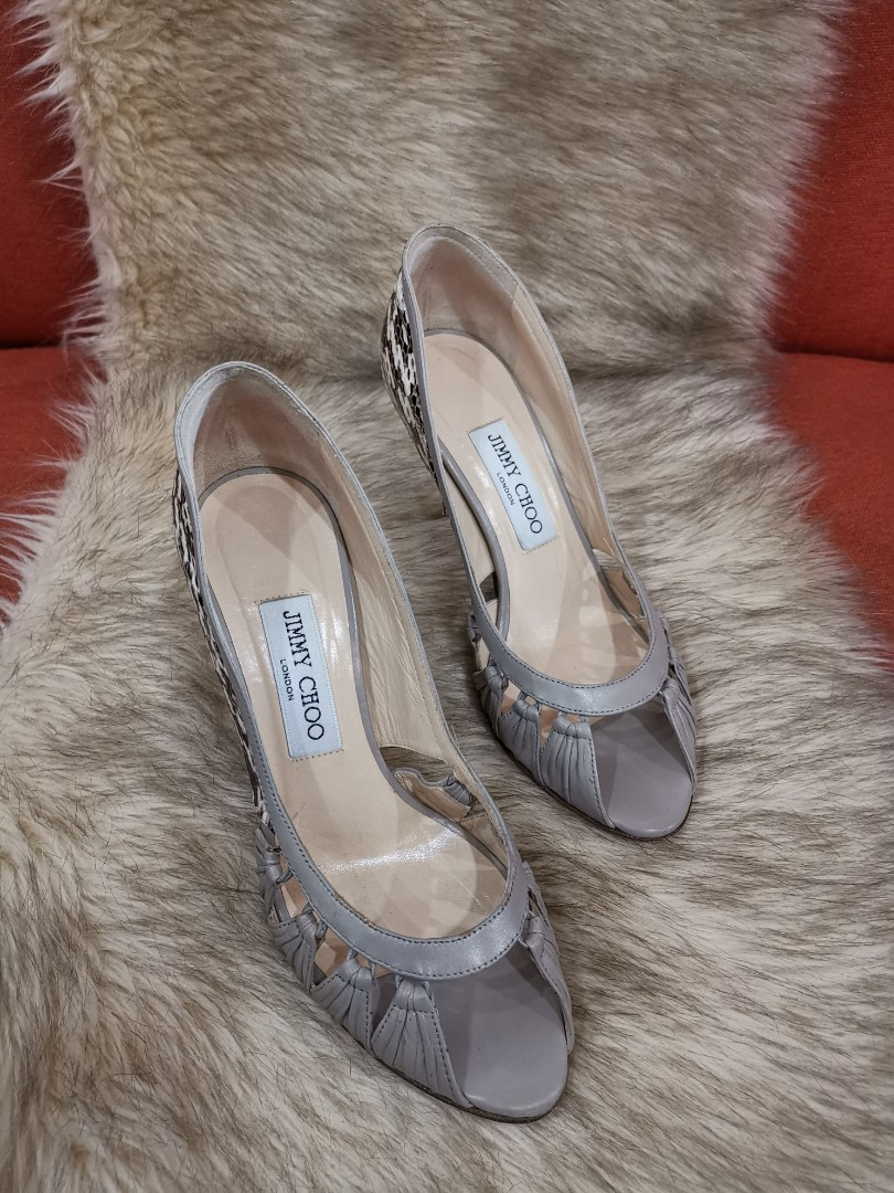 397202a1637 Authentic Jimmy Choo Peep Toe Grayish Leather With Combination of Snakeskin  Leather Pumps, size 37