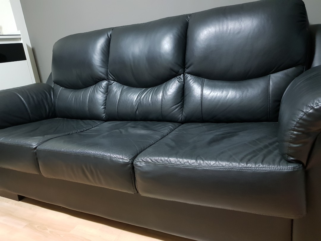 Black Leather Sofa for sale, Furniture, Sofas on Carousell