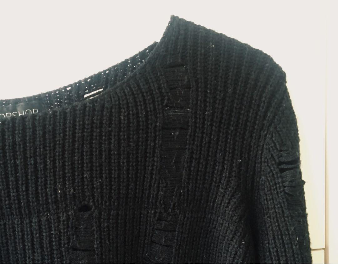 Black Ripped Topshop Sweater
