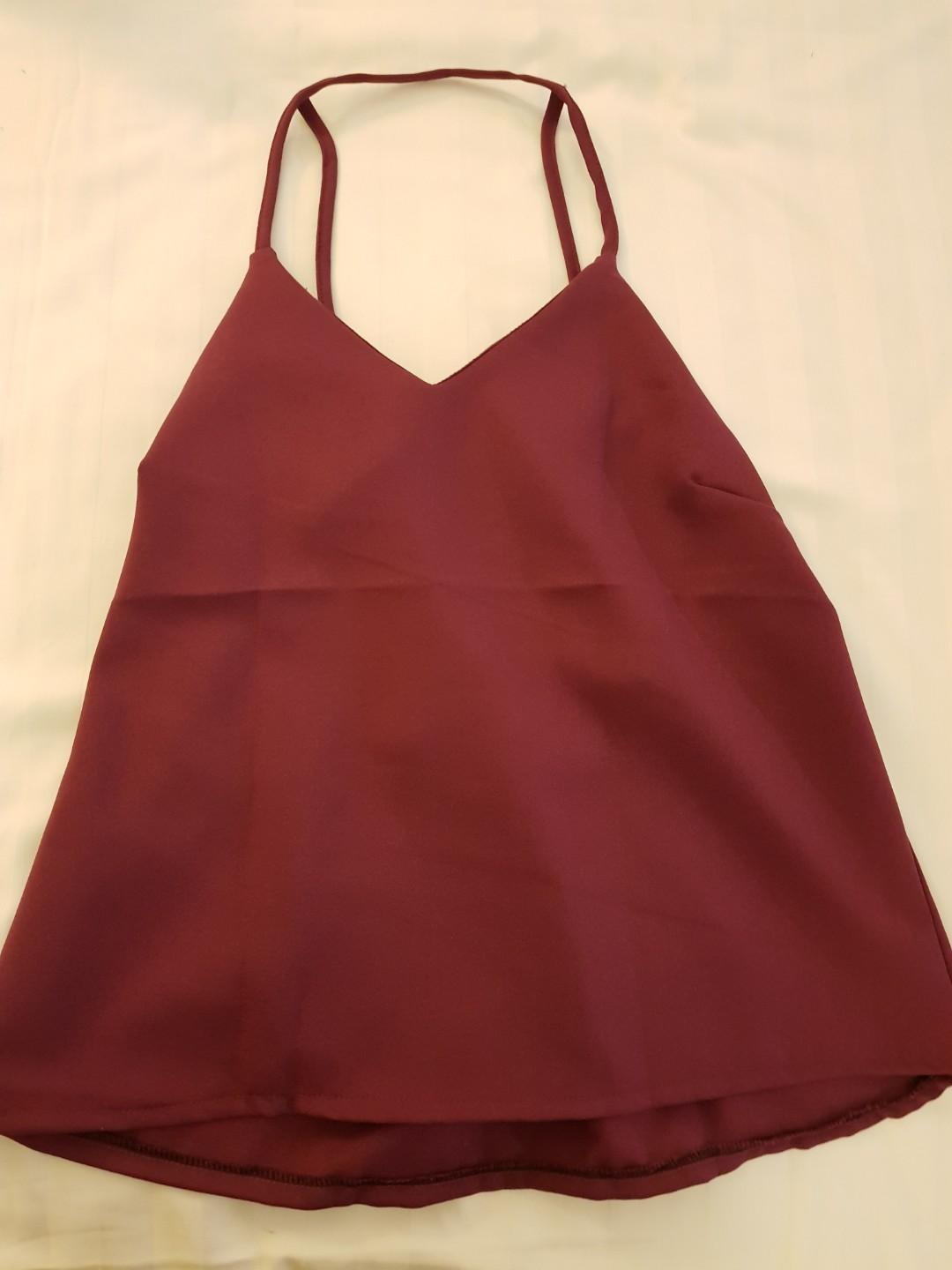 BNWT DIPPED BACK SATIN CHAMPAGNE RED SILK TOP