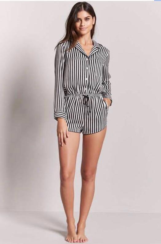 1c47a33f8588 Brand New Auth Forever 21 Striped Romper Pajama