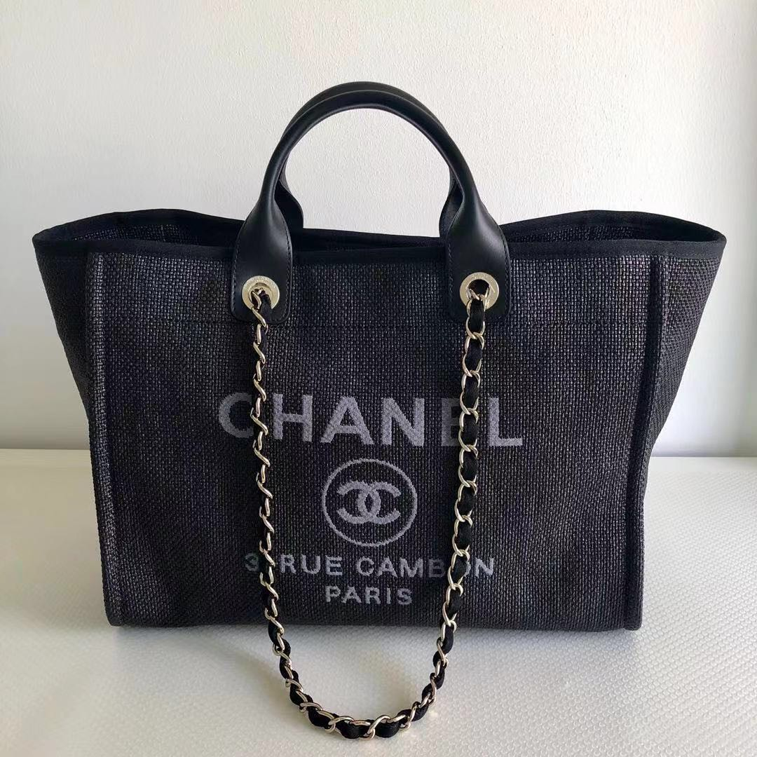 eeff94097719 Chanel Deauville Black Canvas Large Tote Bag
