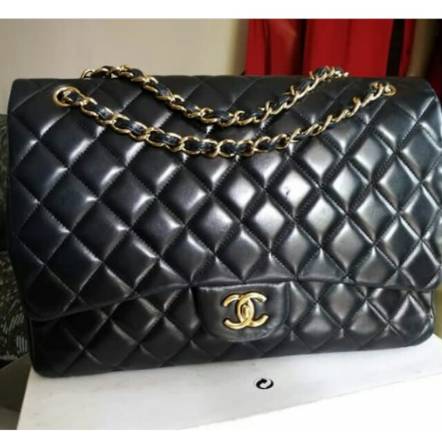 462c3303093 👉CHANEL MAXI Black Lambskin Ghw#tHe, Women's Fashion, Women's Bags ...