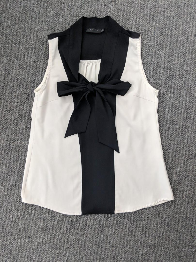 Ezra - low bow tie pussybow black and white work top - AU XS