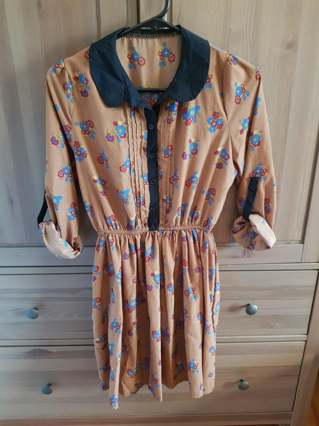 Floral Button Collared Dress Mid to Long Sleeve Size 8 - 10