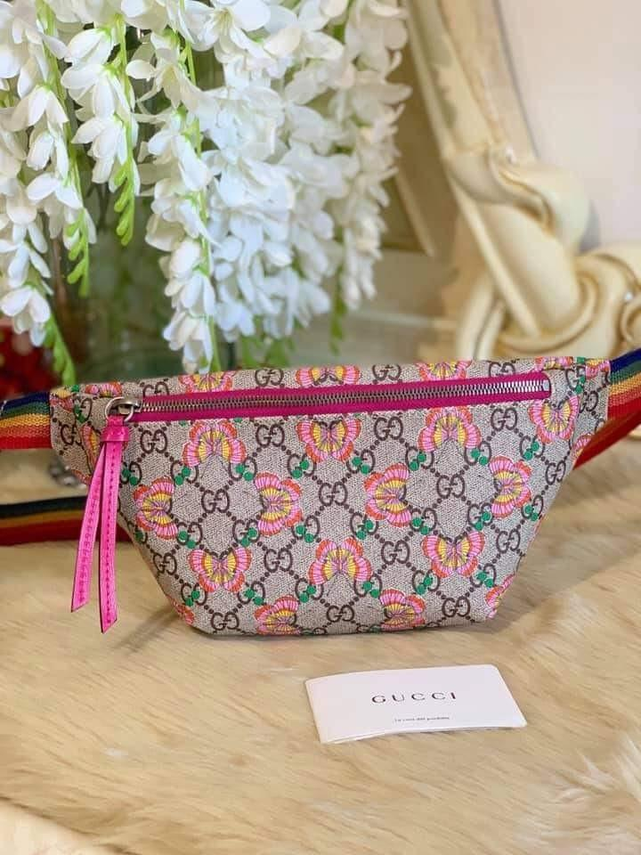 cdd2a1ce649b Gucci Multicolor GG Logo Canvas Butterfly Belt Bag on Carousell