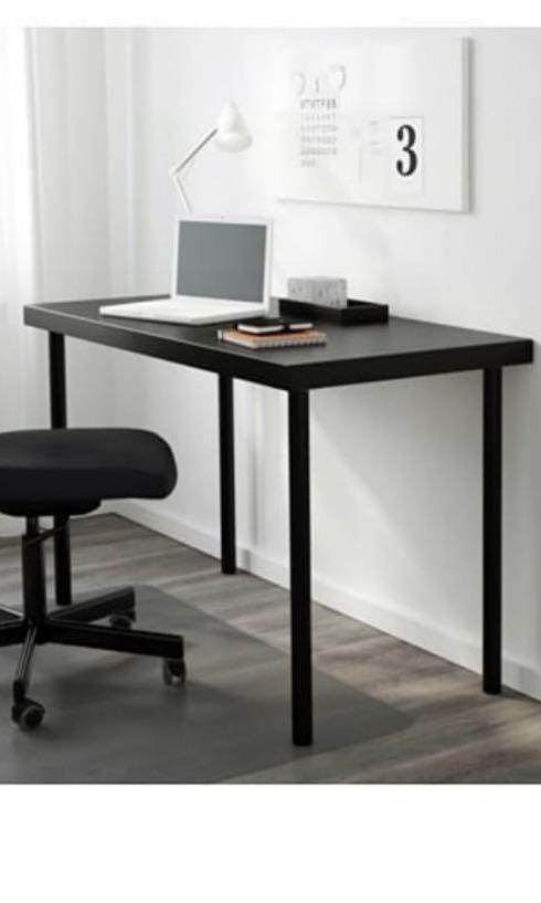 IKEA LINNMON table top 2 ADILS black and 2 silver legs