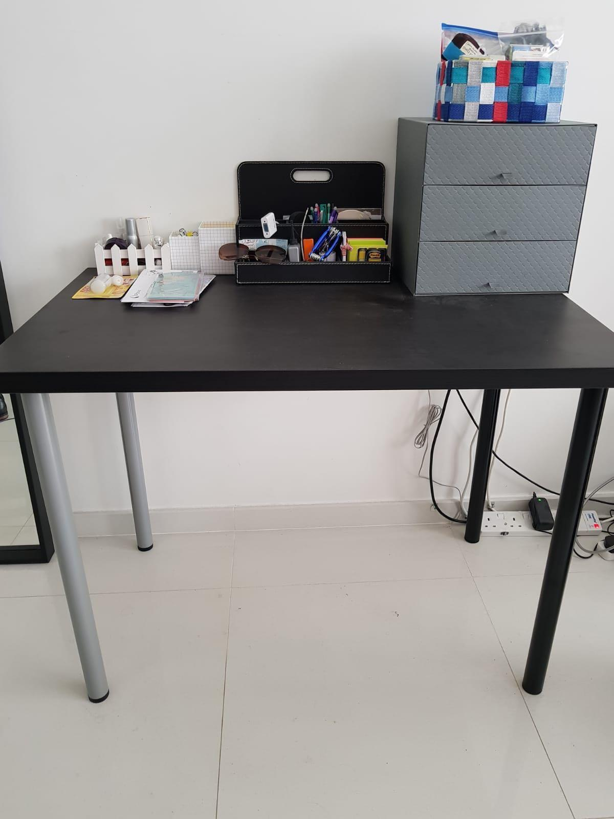 Ikea Linnmon Table Top 2 Adils Black And Silver Legs