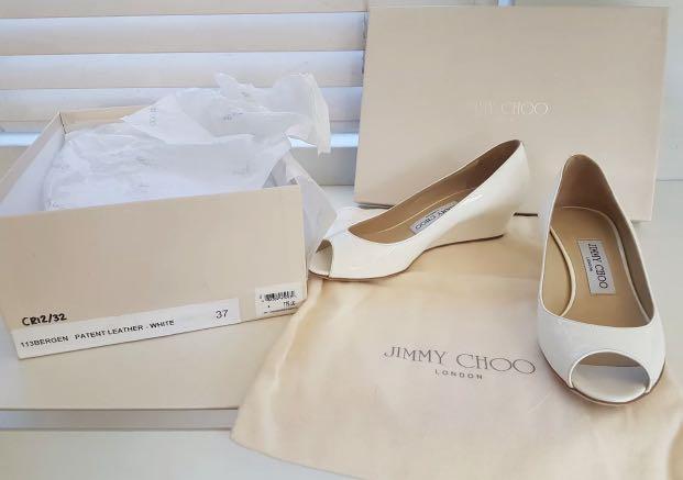 Jimmy Choo 37 White Wedge