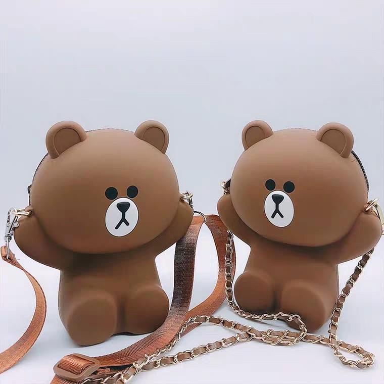 a3cc03e7a0 Korea Brown Bear Cartoon Silicone Waterproof Mobile Phone Bag Cute ...