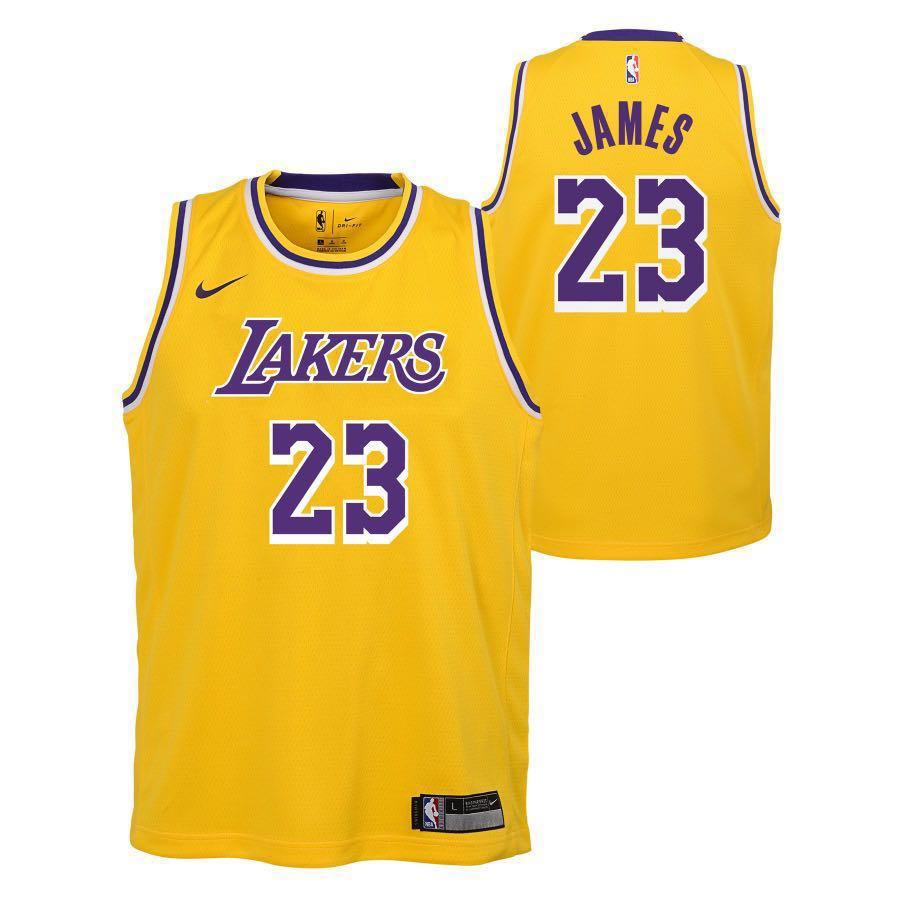 pick up c0b82 b82ac LA Lakers LeBron James Nike Gold Swingman Jersey, Sports ...