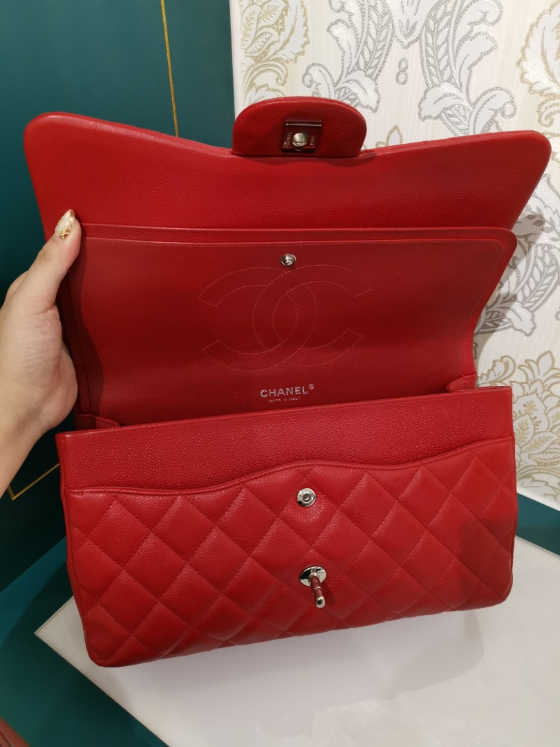 29a7ff4707c3 ❌ Reserved❌Like new Chanel Jumbo Classic Double Flap Caviar Red with SHW,  Luxury, Bags & Wallets, Handbags on Carousell
