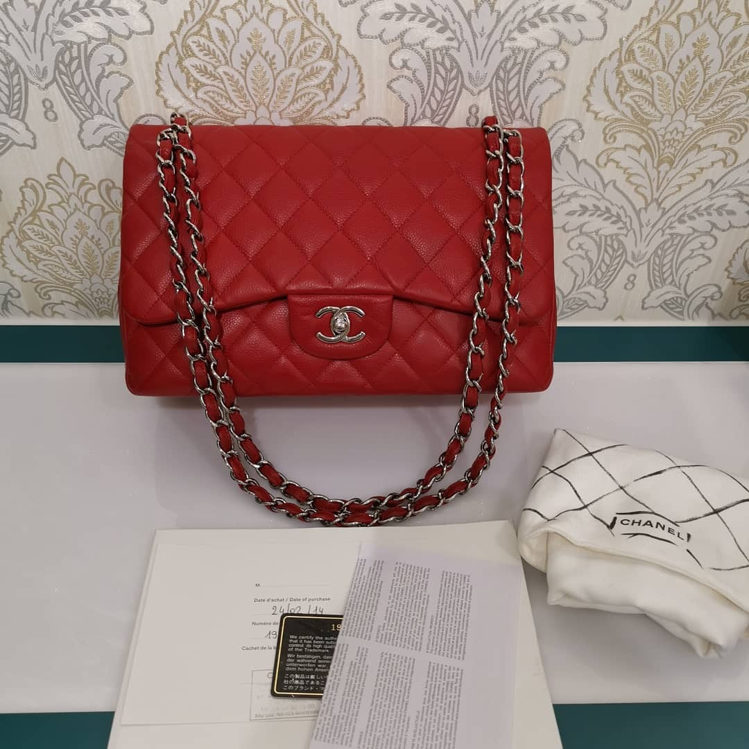 861db2aedecf ❌ Reserved❌Like new Chanel Jumbo Classic Double Flap Caviar Red ...