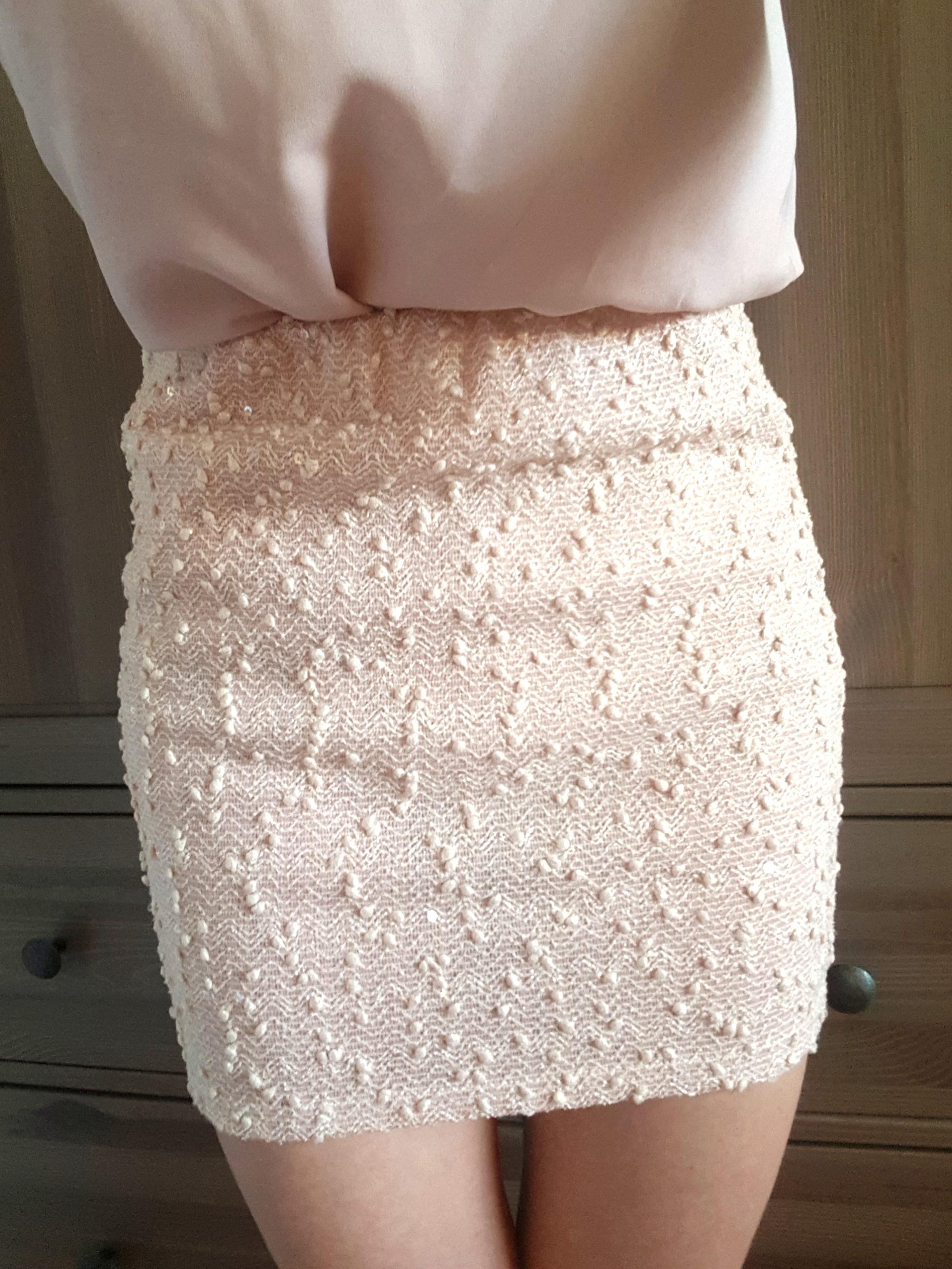 Musky Pale Pink Peach Shimmery Mini Skirt Size 6-8 XS