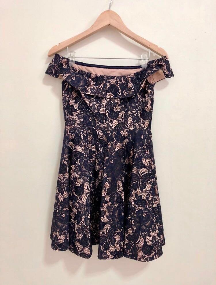 852b5ca8b3fe Navy blue Lace Off Shoulder Fit And Flare Dress