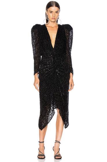 9863d88b125 PO - Long Sleeve V Neck Black Wave Point Jacquard Velvet Midi Dress ...