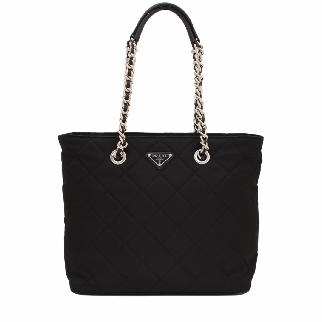 0a71efa7b47c Prada Quilted Tessuto Nylon Tote Bag with Chain Accents- Black ...