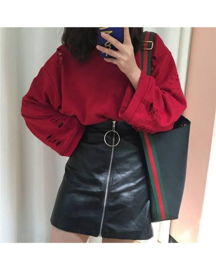 Pretty Little Thing Patent leather Zip up skirt Hoop